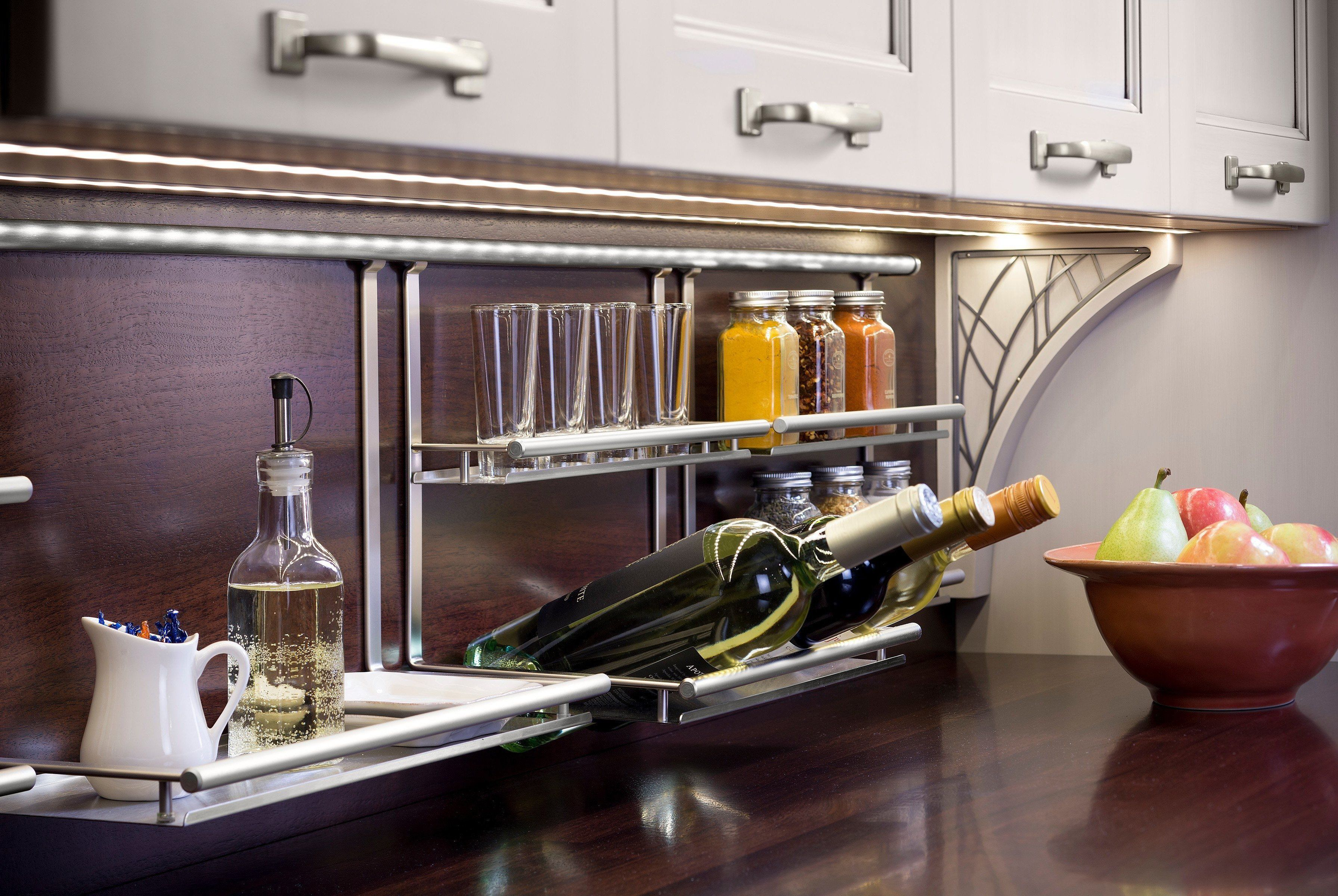 Kitchen Backsplash Storage System Linero Wood Countertops Hafele Backsplash