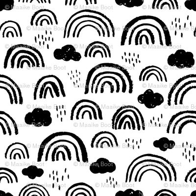 Colorful Fabrics Digitally Printed By Spoonflower Black And White Scandinavian Abstract Rainbow Clouds Happy Rain Sky Gender Neutral Rainbow Abstract Rainbow Cloud Cloud Canvas