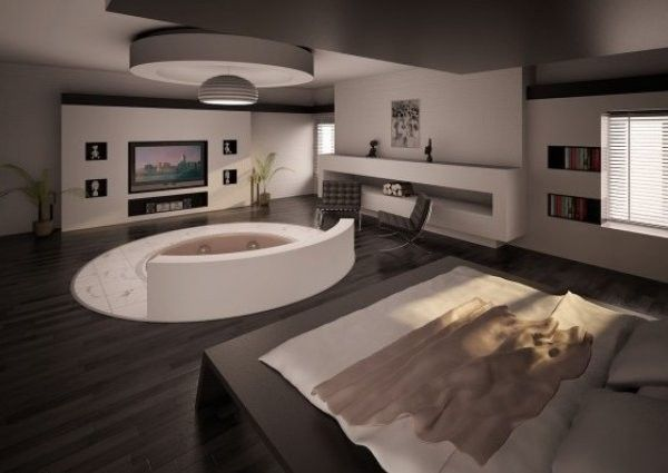 A moder stylish bedroom with jacuzzi modern interior design