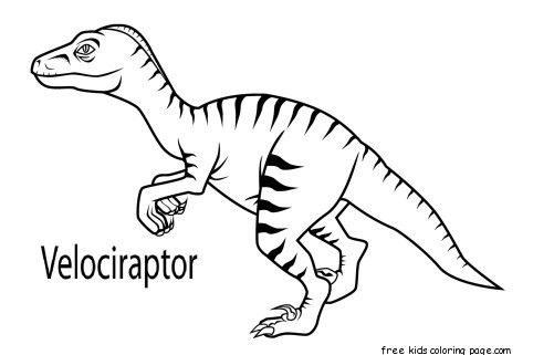 Printable Velociraptor Dinosaur Coloring Book Pages For Kids