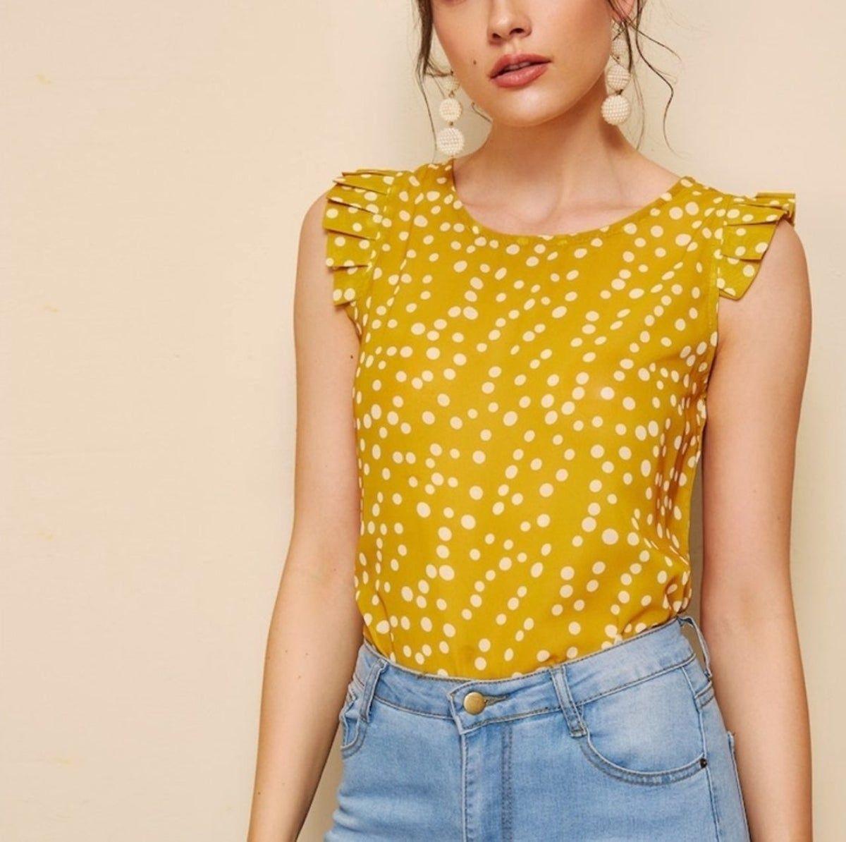 Women Sleeveless Polka Dot Top Button Back Shell Frilled Armhole Chiffon Blouses