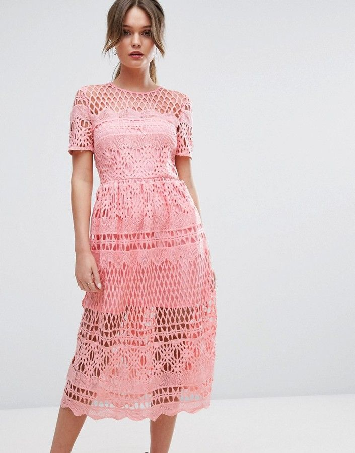 Boohoo Corded Lace Paneled Skater Dress | Wedding Guest Dresses ...