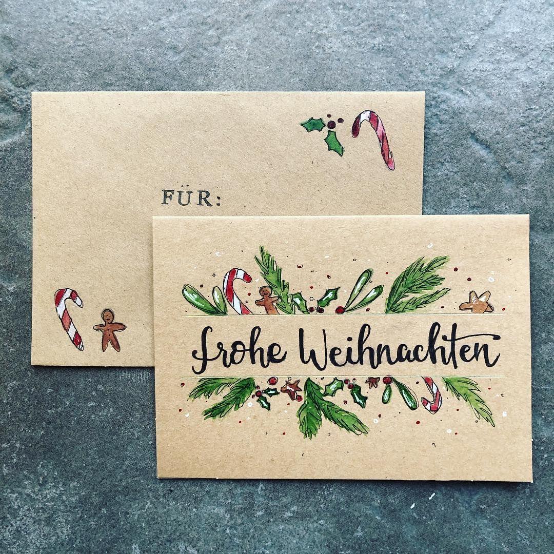 """lettering & aquarell ��'s Instagram profile post: """"Nr. 1 meiner vielen Weihnachtskarten die ich in den letzten Tagen angefertigt habe ��� [unbezahlte Werbung] #handlettering #brushlettering…"""""""