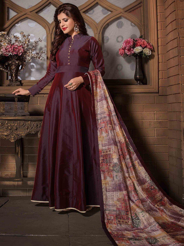 a054051606 Dressy Plain Maroon Silk Anarkali Suit | Designer salwar suit Neck ...