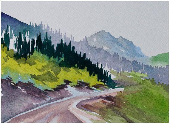 Watercolor Landscape Original Painting Red Deer Trail By Angela