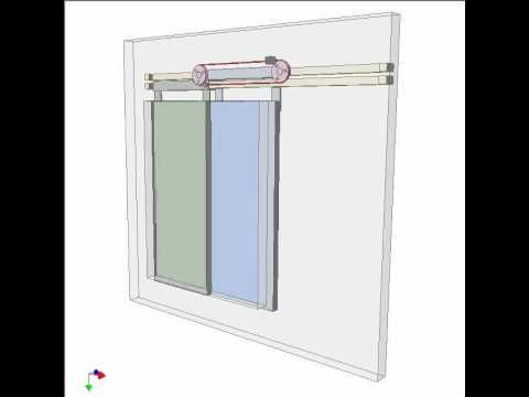 Two Pink Pulleys Rotate On Pivots Of The Blue Panel Green Pannel Is Fixed To Lower Cable Branch Uppe Sliding Windows Mechanical Design Sliding Door Mechanism