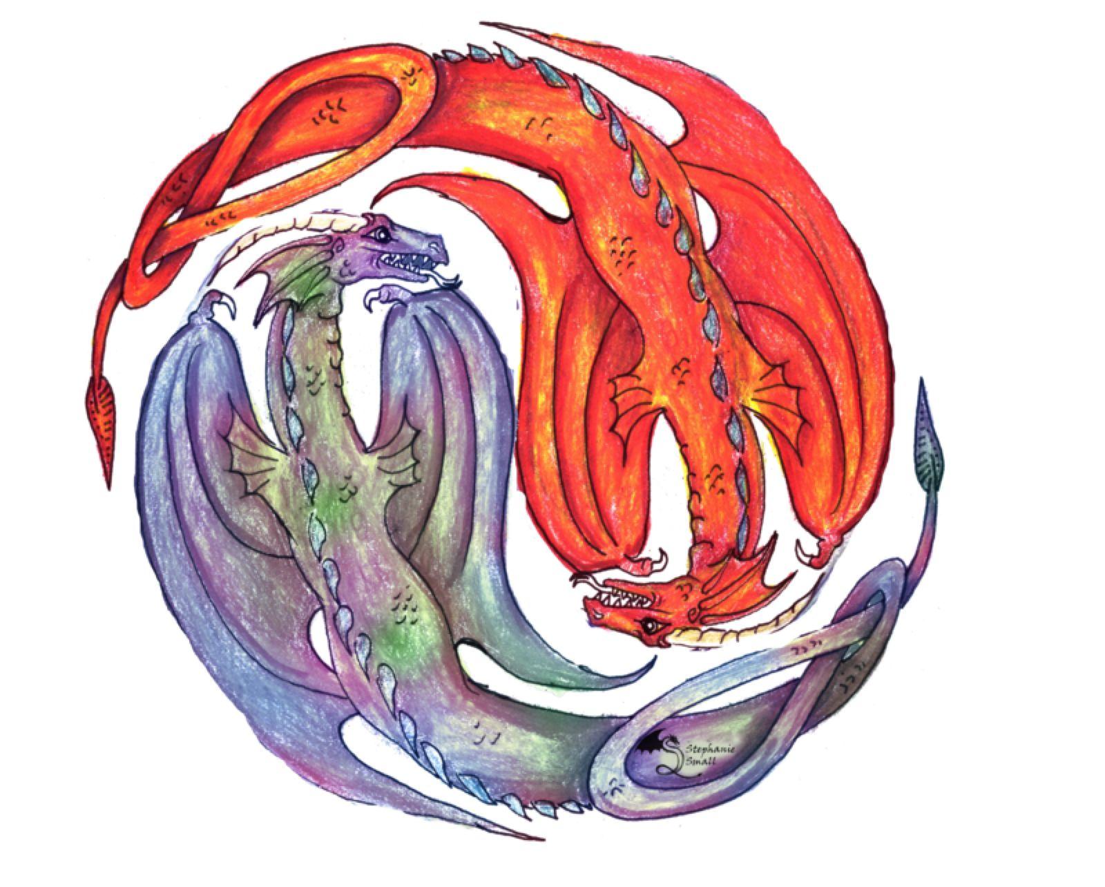 Yin Yang Dragon Fire Water Fantasy red orange yell by