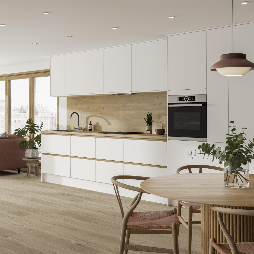 Oak Trim Cabinets In 2020 Nordic Design Kitchen White Contemporary Kitchen Diy Kitchen Renovation