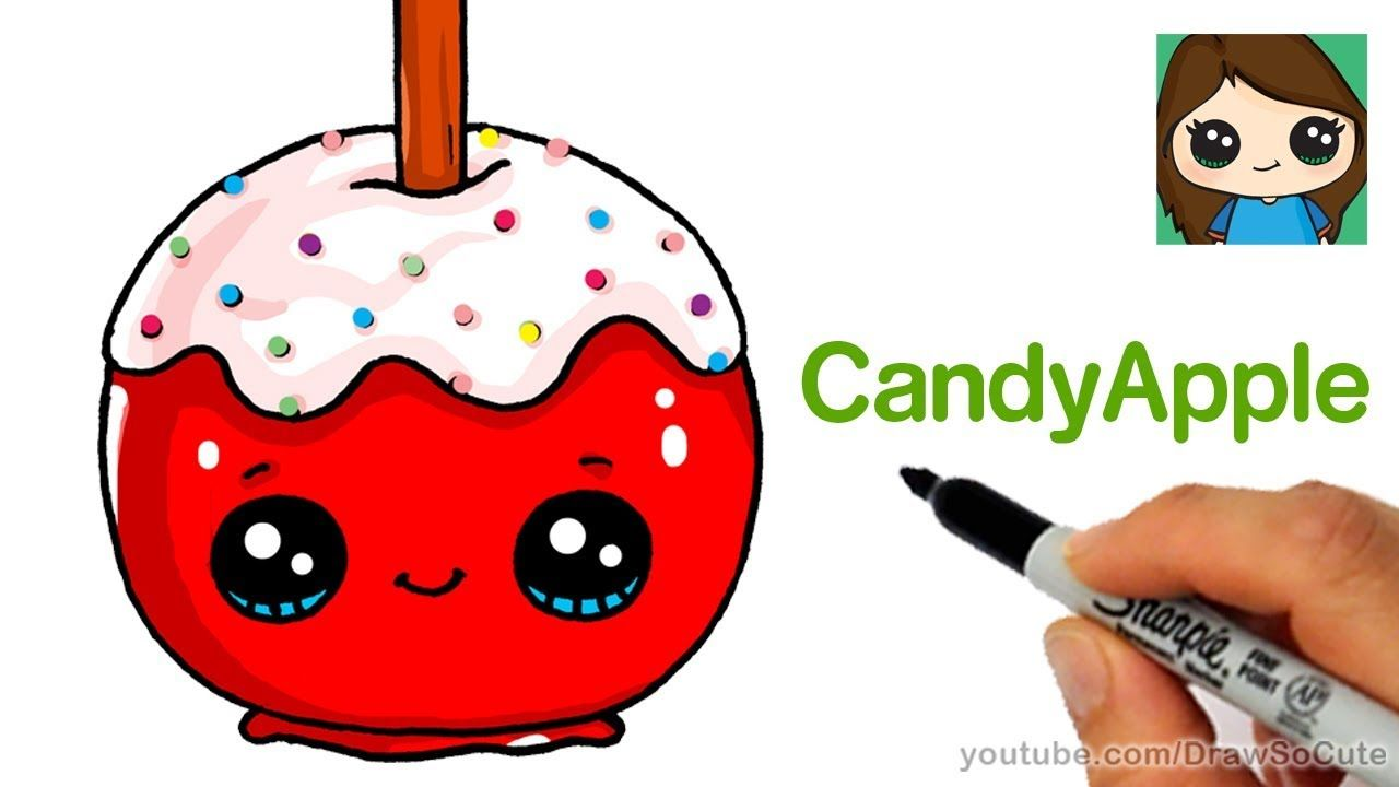 How To Draw A Candy Apple Easy Easy Cartoon Drawings Candy