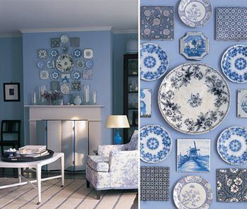 blue and white plate wall display - love it. & blue and white plate wall display - love it. | Plate display ...