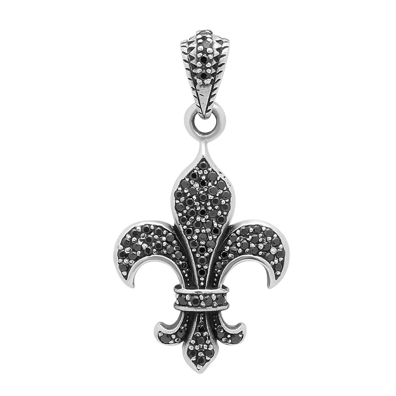 Polished .925 Sterling Silver 26.5mm Fleur-de-Lis Cubic Zirconia Pendant