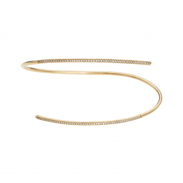 471569605 A thin spiral cuff bracelet with 100 brilliant diamonds in 14k rose gold, a  minimalist addition to any outfit.