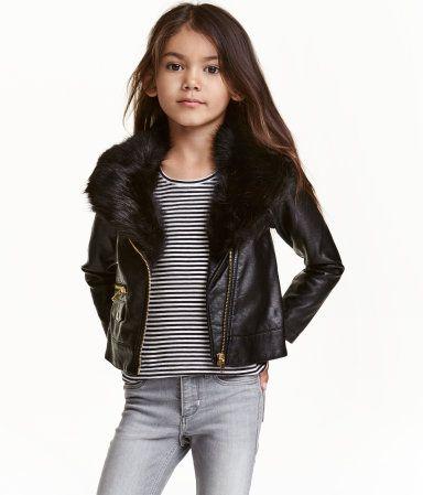 42ee2e300 Biker Jacket with Faux Fur | Black | Kids | H&M US | Bebe style ...