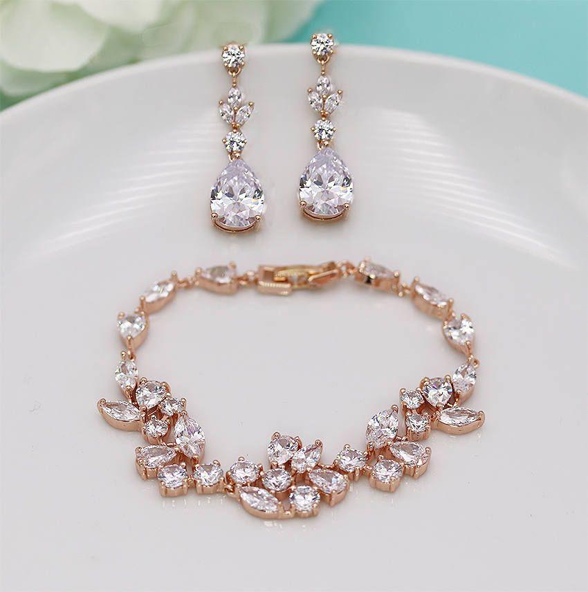 Rose Gold Bridal Bracelet Set Wedding