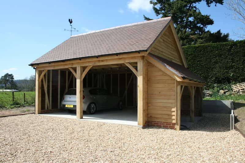Two Bay Car Port with Log Store Ascot Timber Buildings