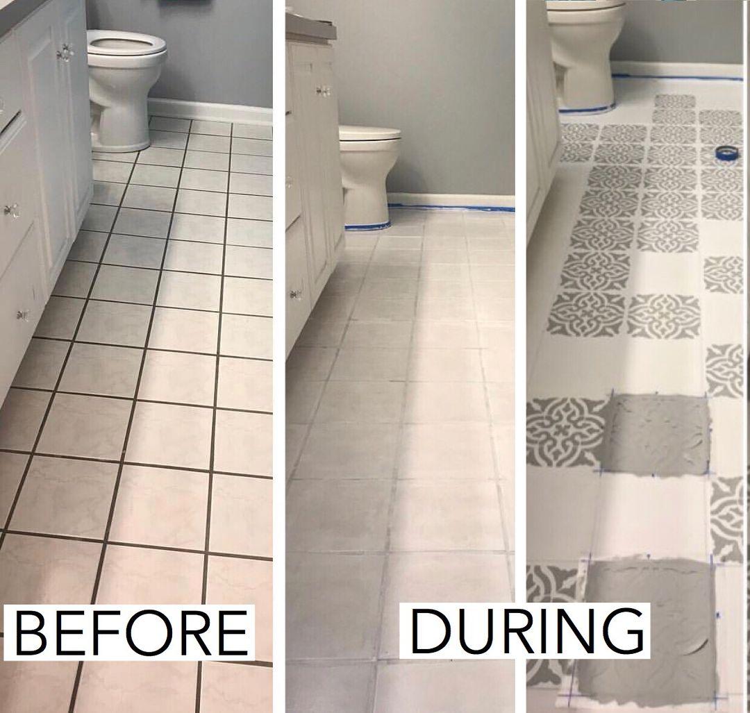 Painted Floors Painted Tile Painted Linoleum Chalk Painted Floor Diy Floor Diy Chalk Paint Stenci Bathroom Tile Diy Tile Remodel Diy Painted Floors