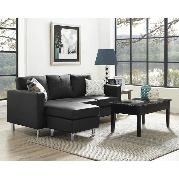 Dorel Living Small Spaces Black Faux Leather Configurable Sectional