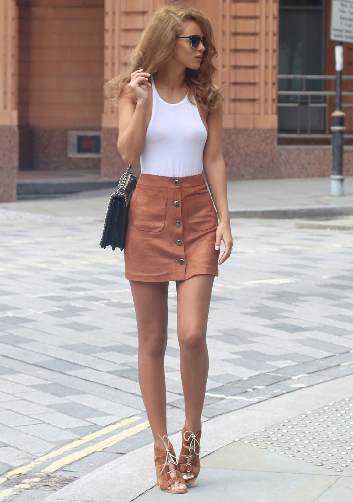 Wear your button front suede skirt with matching shoes and a white ...
