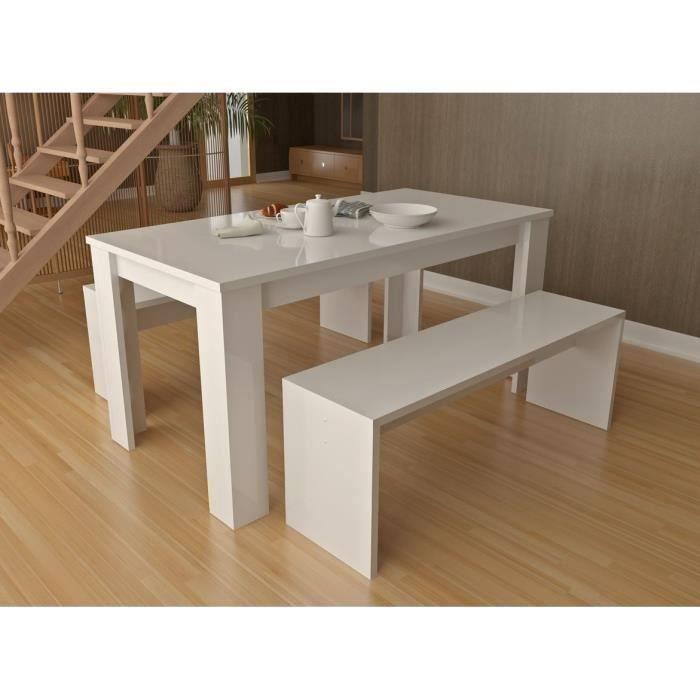 Table de repas + 2 bancs laqué blanc Finlandek - Meubles à bon prix