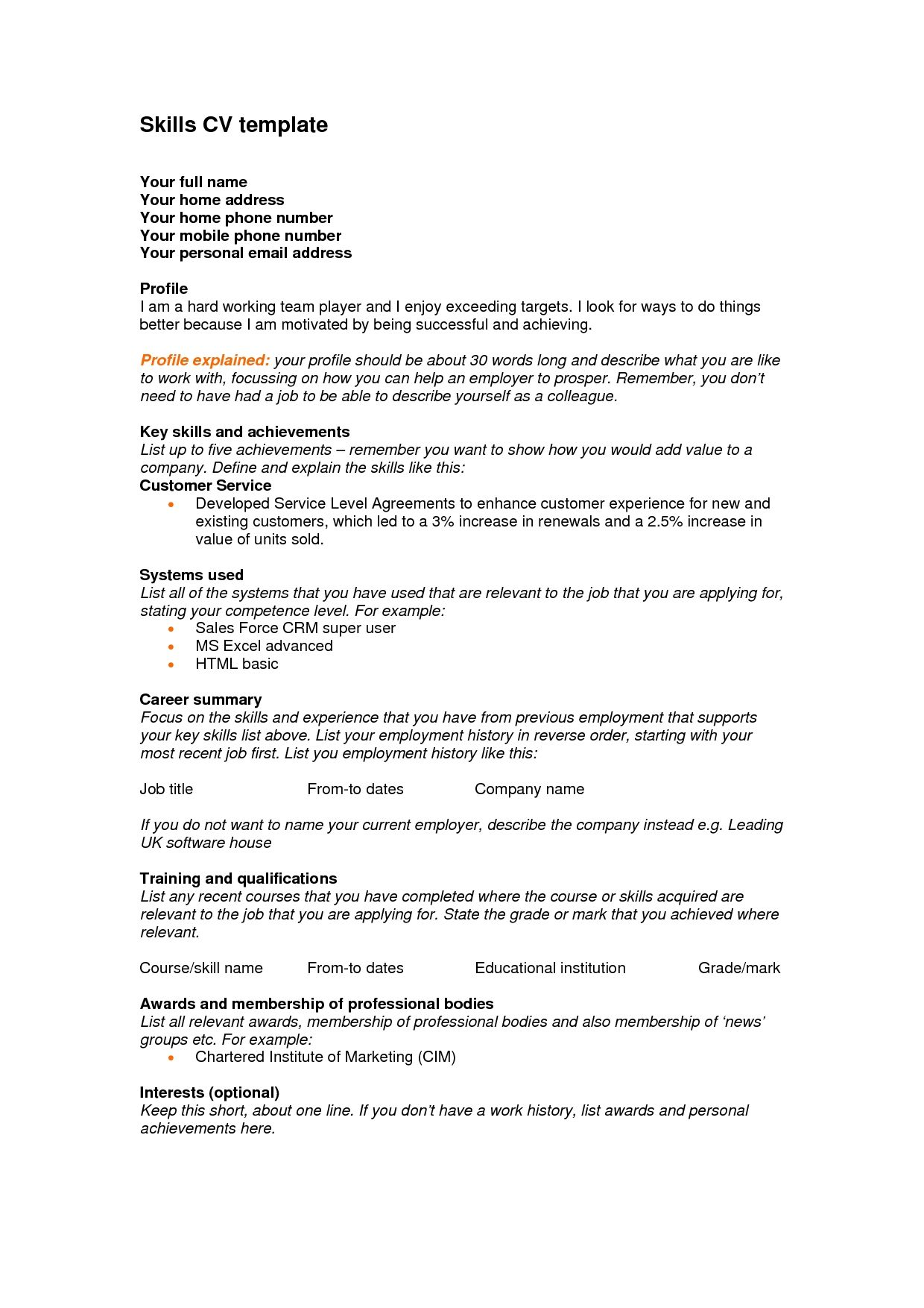 Teacher Resume Skills Section Personal Skills For Resume Resume Personal Skills