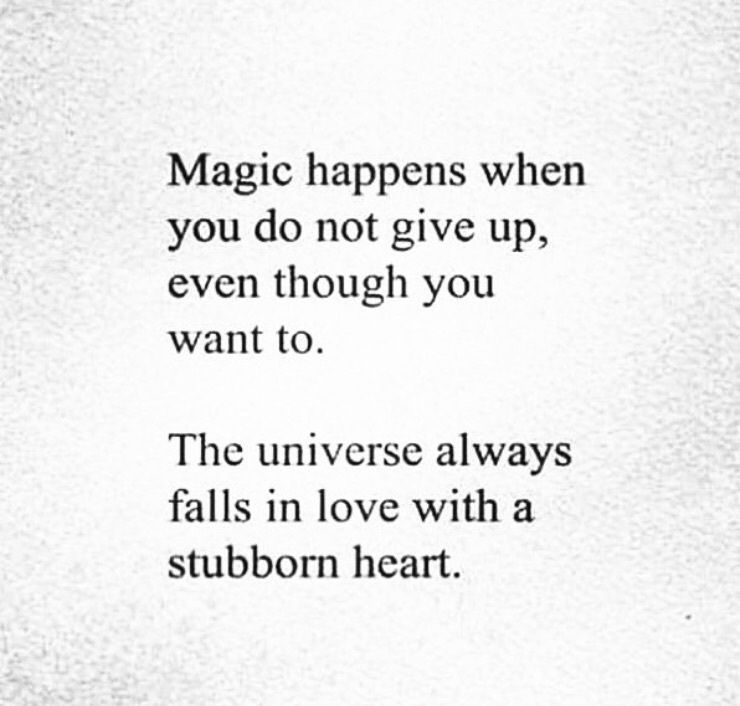 Magic Happens When You Do Not Give Up Even Though You Want To The