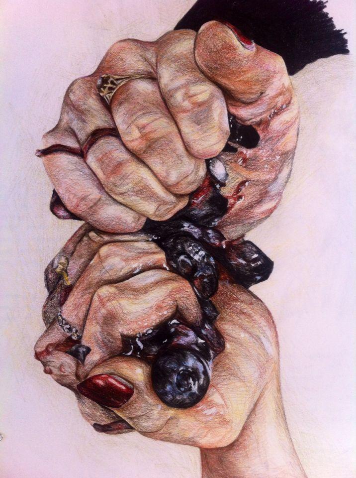 Crushed Berries, using crayon pencils