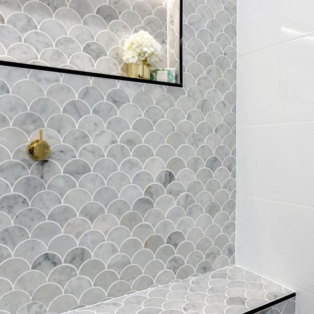 Great Feature Wall Theblock Bathroom Grey Fishscale Fan Mosaics Mosaic Tiles Bathroo Bathroom Feature Wall Tile Bathroom Feature Wall Bathroom Splashback