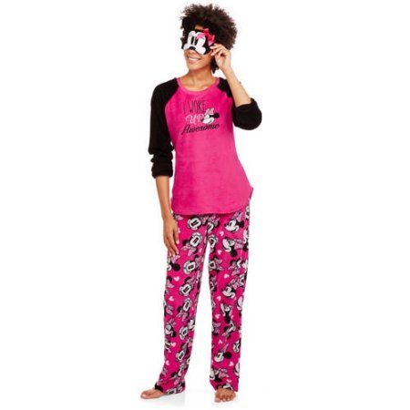Minnie Mouse Women's License Pajama Plush Fleece Sleep Top