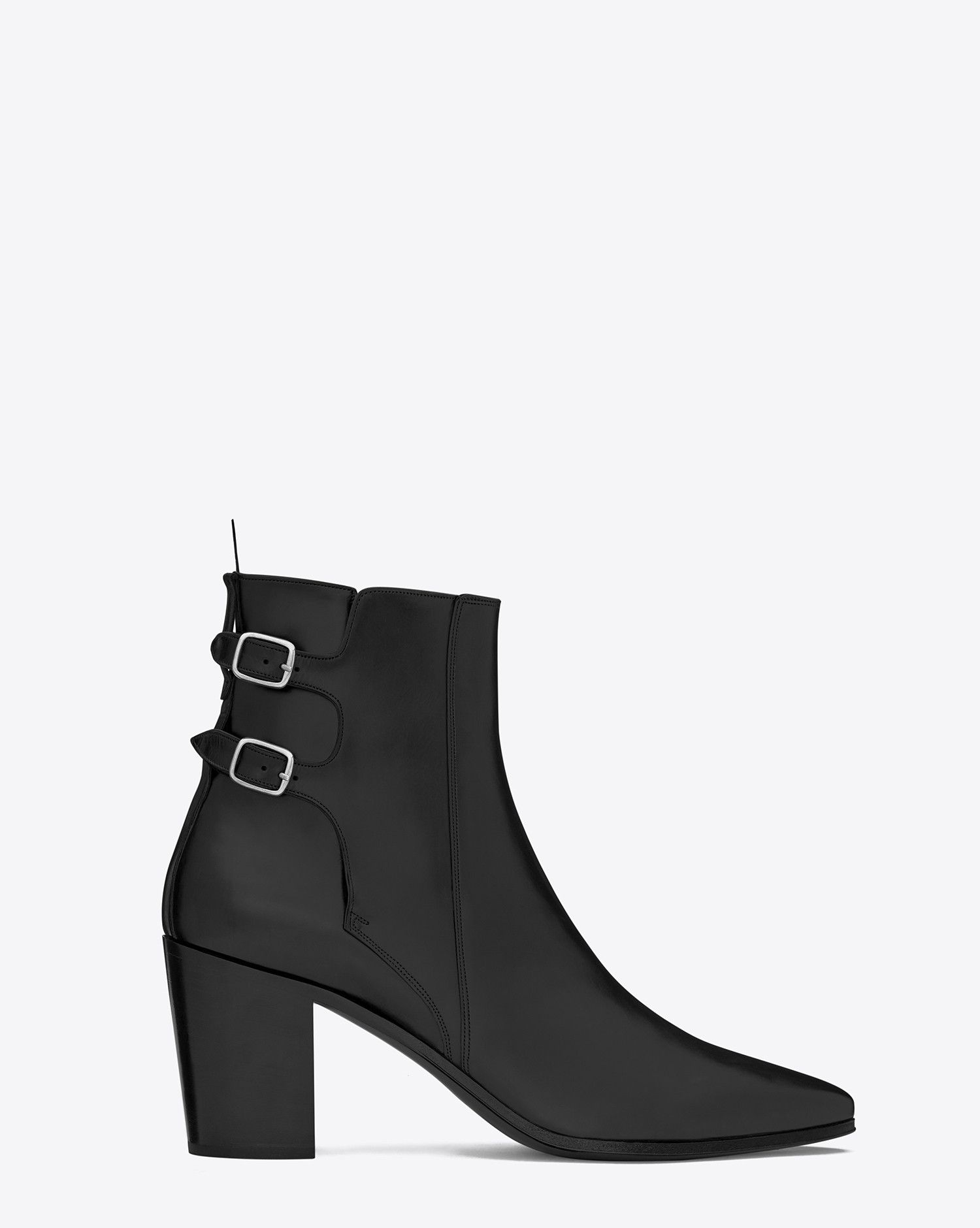 1068f87504 Saint Laurent FRENCH 85 Double Buckle ANKLE BOOT IN BLACK LEATHER ...