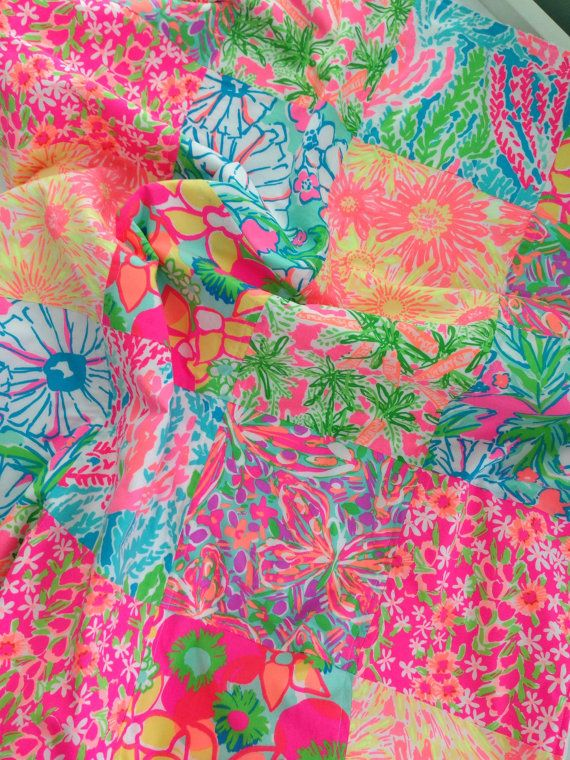 Lilly Pulitzer Baby Blanket ~ Lilly Pulitzer Patchwork Blanket ~ Lilly Pulitzer Baby ~ Baby Girl Patchwork Quilt ~ Photo Prop