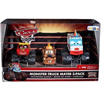 Disney / Pixar CARS TOON Exclusive Oversized Die Cast Car 3Pack Frightening McMean, Beanie Hat Mater IScreamer