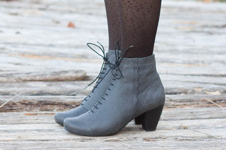 Black Leather Boots Ankle Boots Leather Booties Black by BangiShop