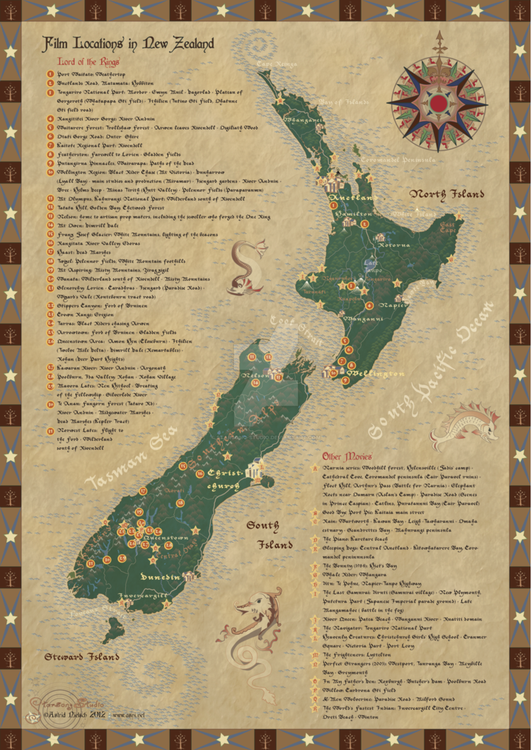 Map Of The Lord Of The Rings Locations In New Zealand Te Araroa