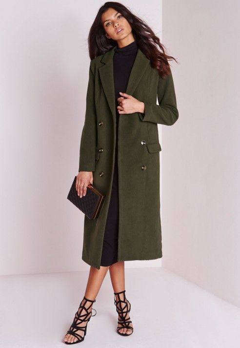 Double Breasted Tailored Long Wool Coat Khaki - Coats and Jackets ...