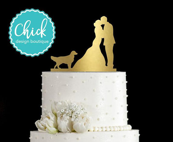 Golden Retriever Dog Wedding Cake Topper Hand Painted In Metallic Paint With Couple Kissing Dog Cake Topper Wedding Wedding Cake Toppers Dog Wedding