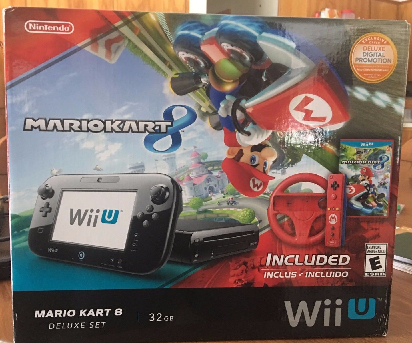 nintendo wii u mario kart 8 deluxe set 32gb black system. Black Bedroom Furniture Sets. Home Design Ideas