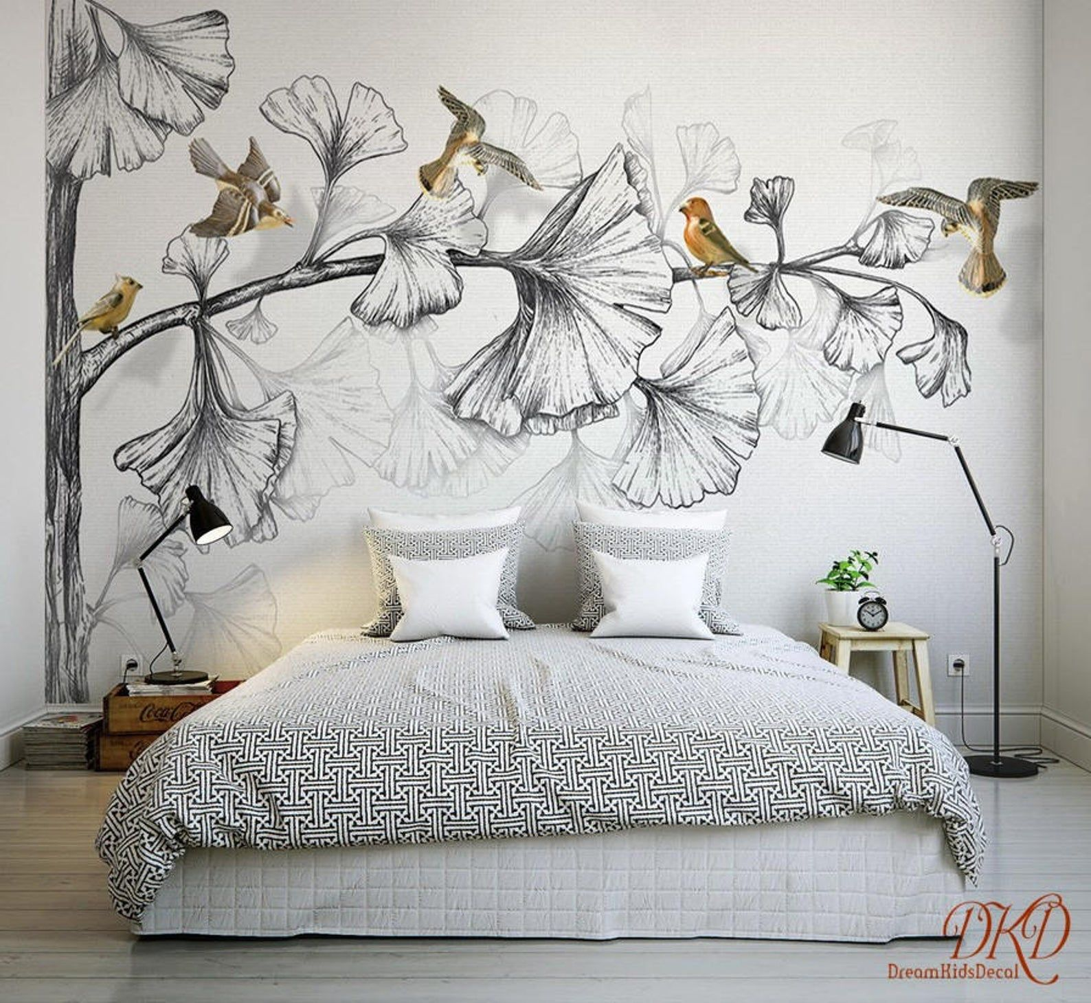 Wall Mural Nature Large Corner Tree Removable Wallpaper Etsy Tree Removable Wallpaper Wall Wallpaper Wall Painting Decor