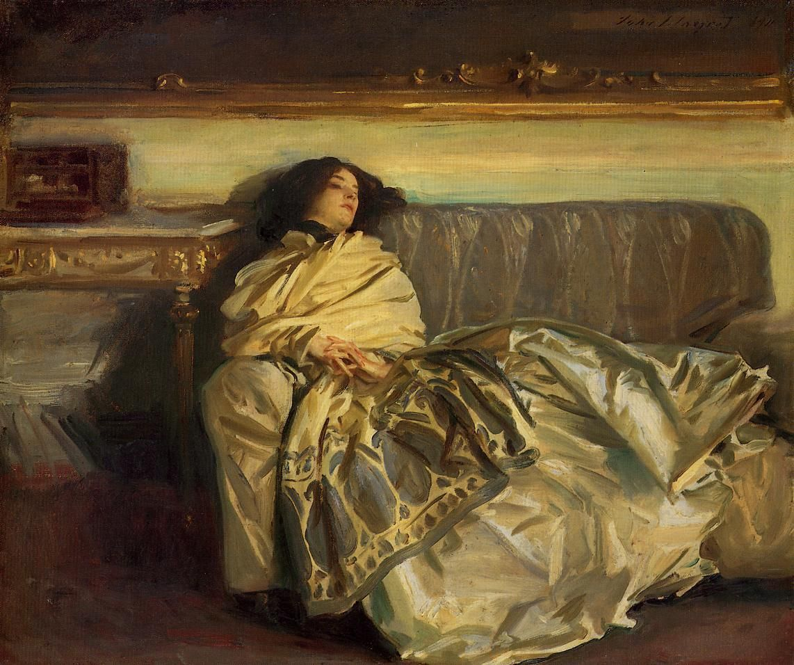 Woman Laying Couch John Singer Sergeant - Repose 1911