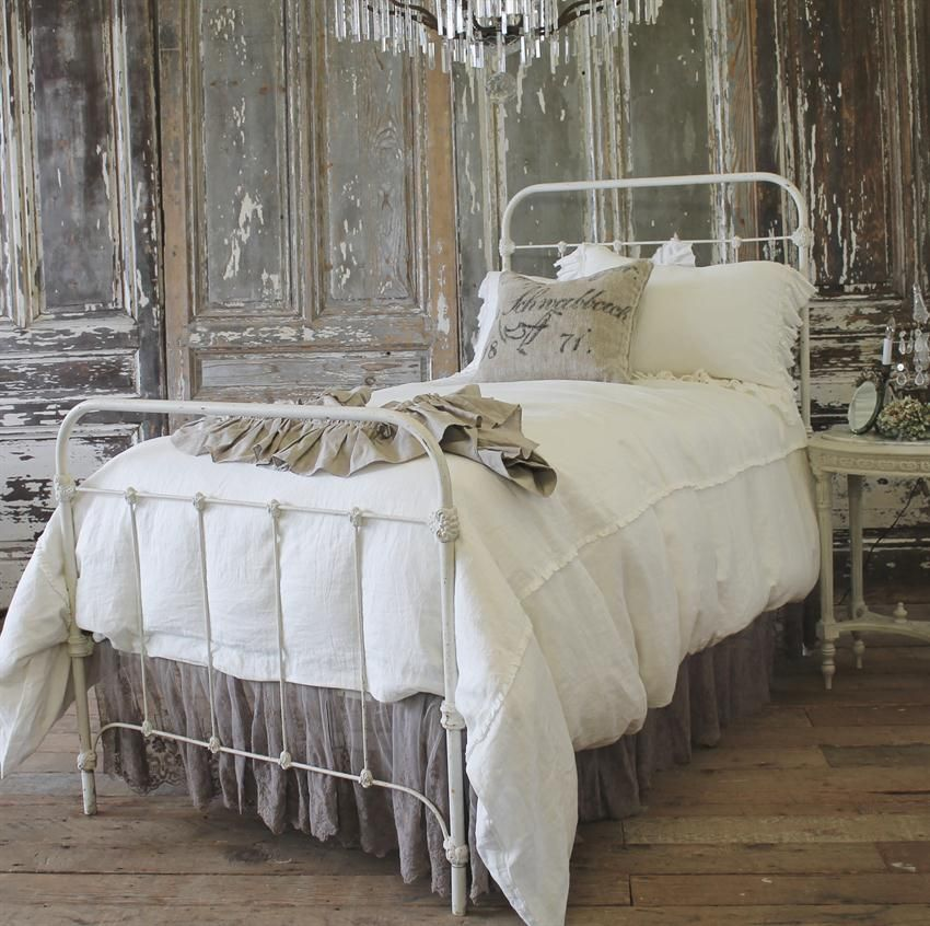 Antique French Farm House Iron Bed From Full Bloom Cottage White