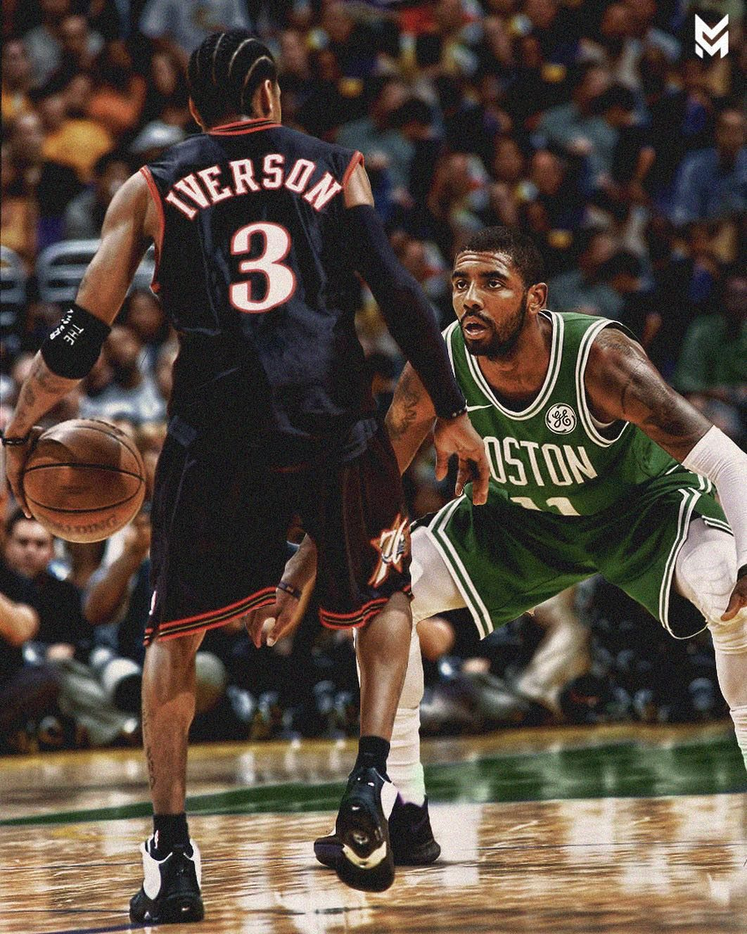 3 V 11 Posterizes Projecthoops Kyrieirving Alleniverson Ai Iverson Kyrie Celtics Sixers Boston Philly Green Bas Nba Sports Nba Players Nba Legends