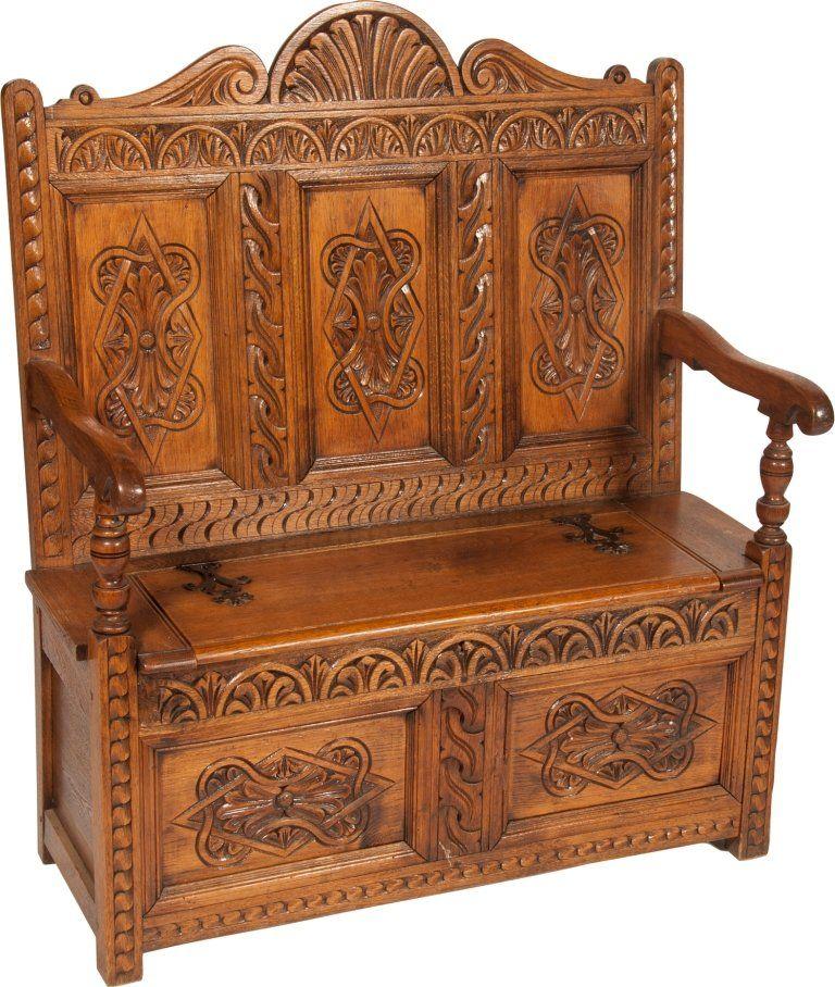 697 Ornate Carved Wood Victorian Prayer Bench On