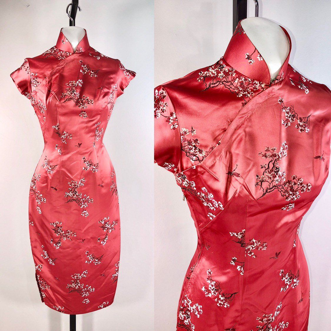 40s dress Vintage 1940s Cheongsam Chinese Dress Flowers Brocade 32 ... 1c4624e1f5