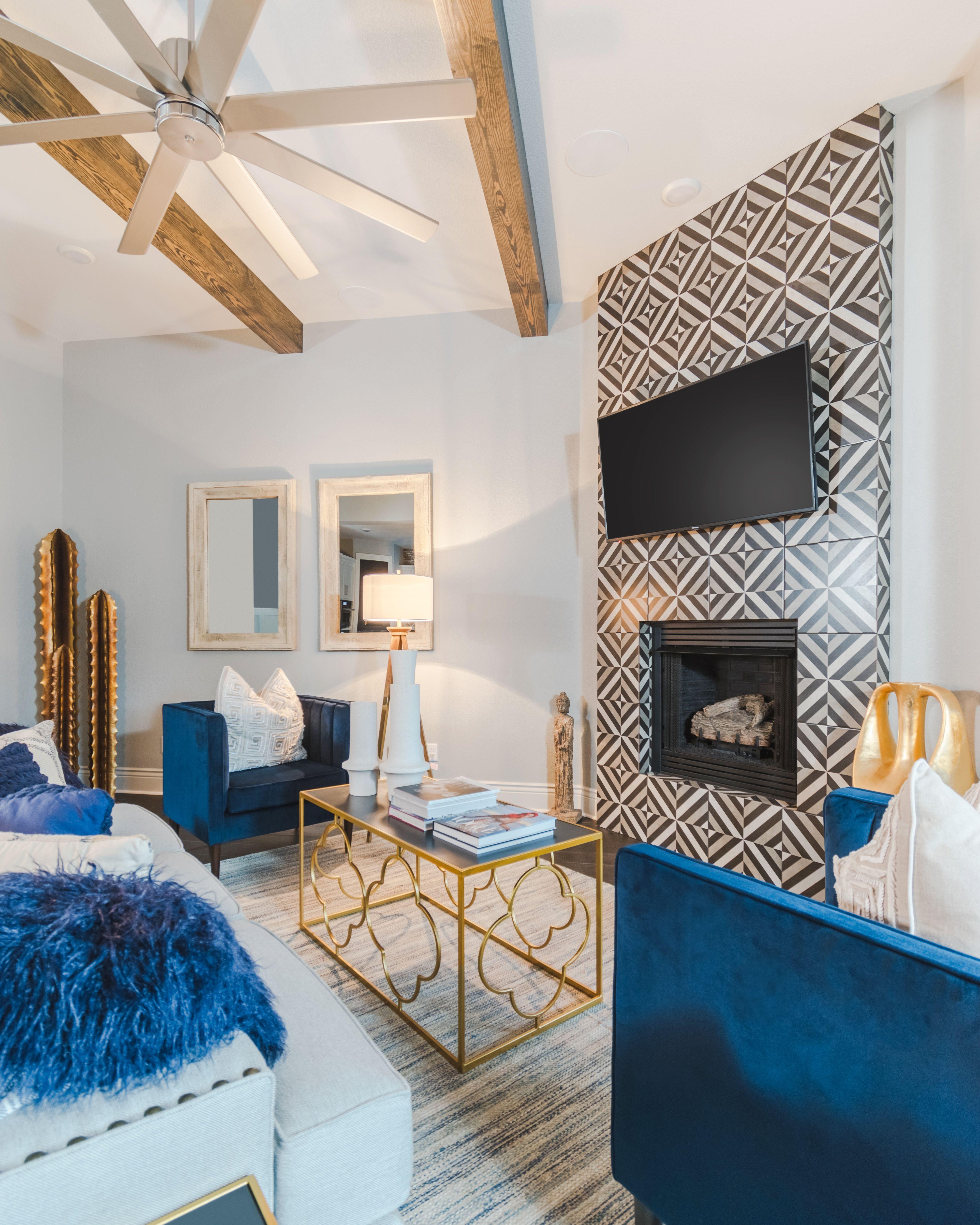 Modern Navy & Gold Living Room, Black & White Patterned