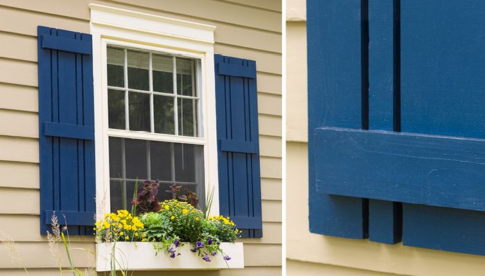 Simple Idiy Window Shutters Flank A Window With Decorative Outdoor Shutters You Can Make Yourself Shutters Exterior Window Shutters Exterior Diy Exterior