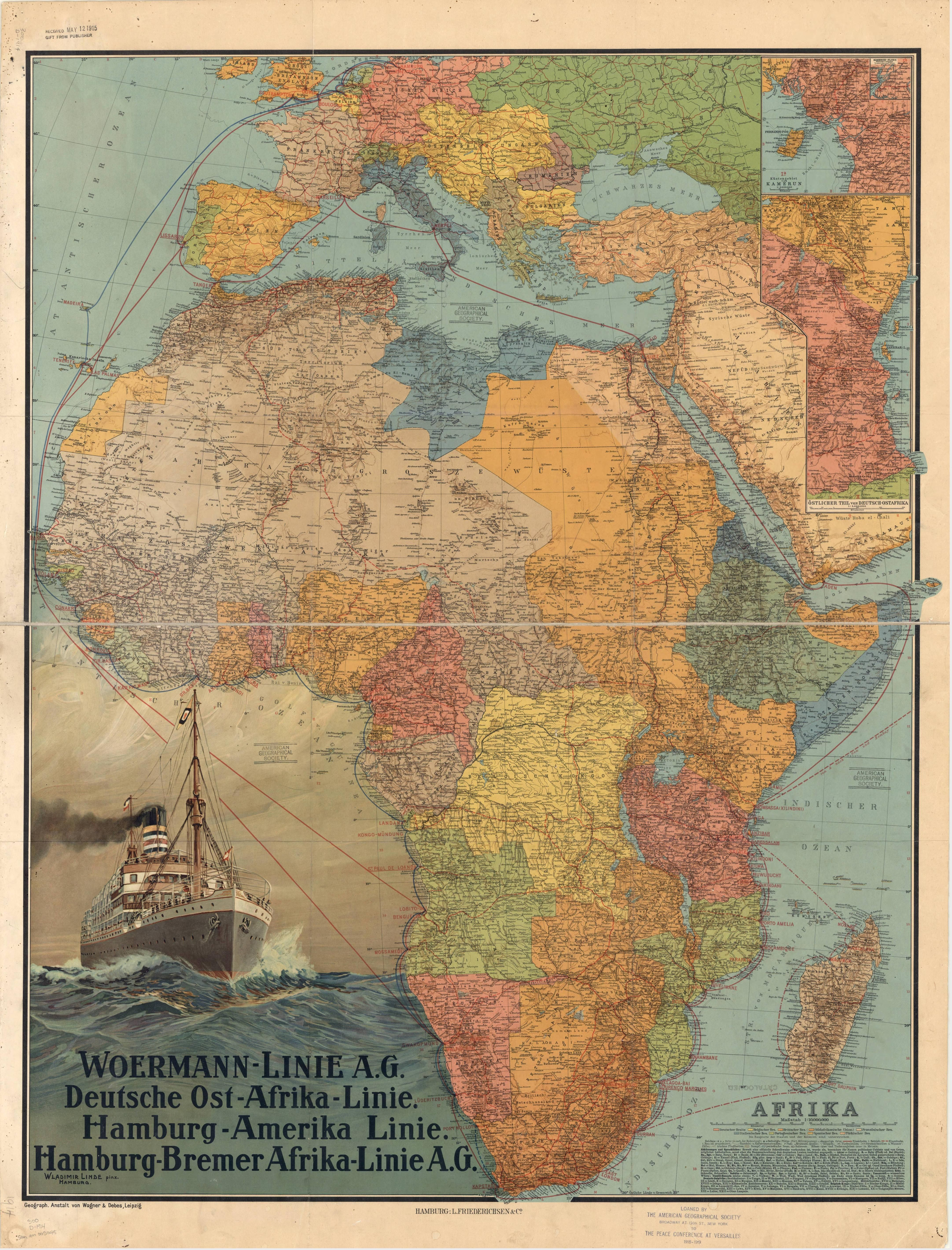 Beautifully colored map of Africa in 1914 Published in Germany by