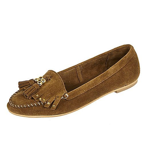 Brown suede tassel moccasins - loafers / pumps - shoes / boots - women
