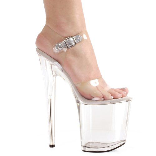 2d22634ae11 8 Inch Clear High Platform Stripper Shoes Womens Exotic High Heel Sandals
