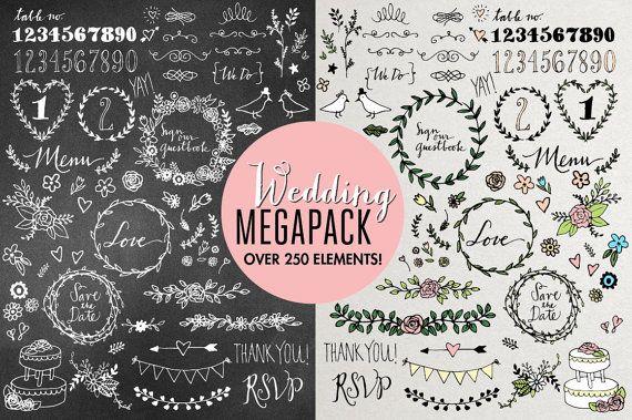 Wedding Clipart Mega Pack  hand drawn wedding by LemonadePixel, $16.00
