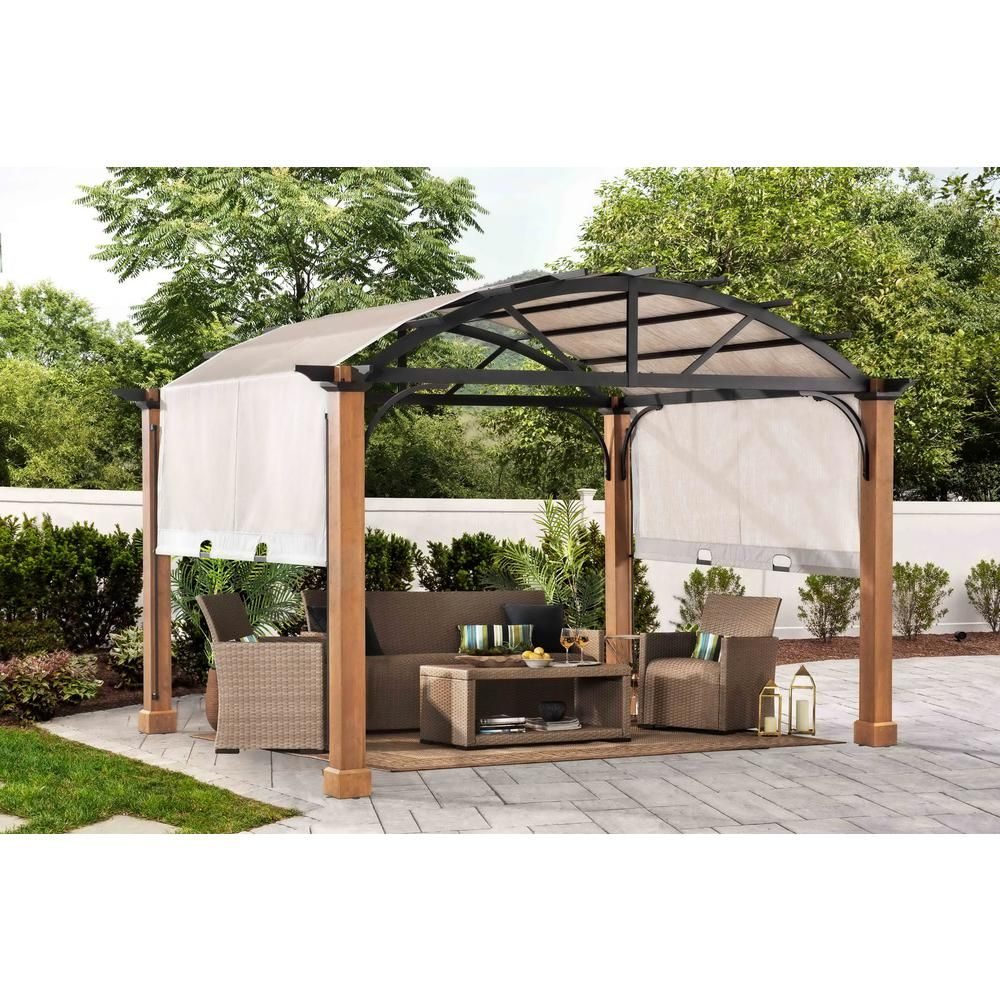 Hampton Bay 10 Ft X 12 Ft Longford Wood Outdoor Patio Pergola With Sling Canopy A106003600 The Home Depot In 2020 Outdoor Pergola Modern Gazebo Backyard Renovations