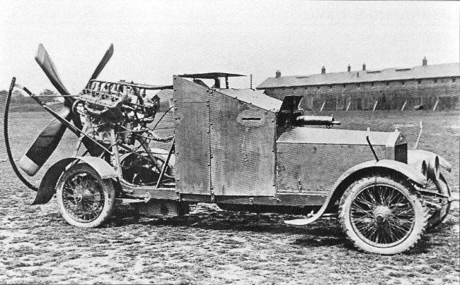 "1915 Sizaire-Berwick ""Wind Wagon"": The ""Wind Wagon"" was a 1915 British Admiralty experiment. Royal Naval Air Service squadrons were being withdrawn from the Western Front and sent to Africa and the Near East, where the terrain wasn't suited to conventional cars. Only one was made, and it was only tested in England."